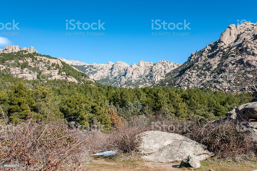 Views of La Pedriza from in Guadarrama Mountains National Park stock photo