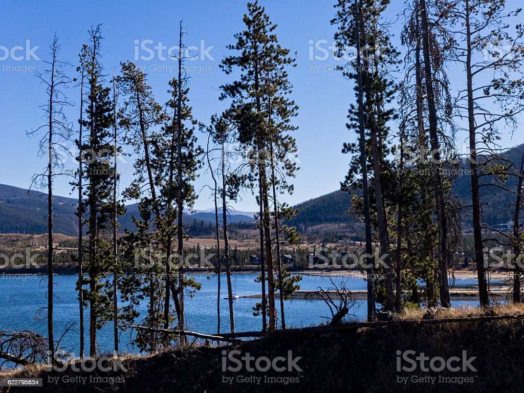 Views of Lake Dillon from Frisco Colorado stock photo