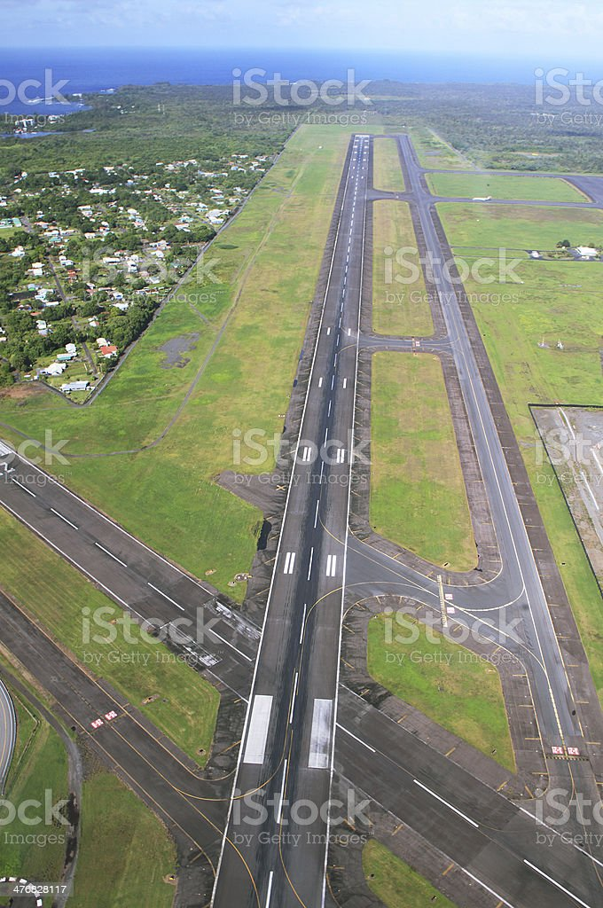 Views of landing runway arriving at Hilo airport stock photo