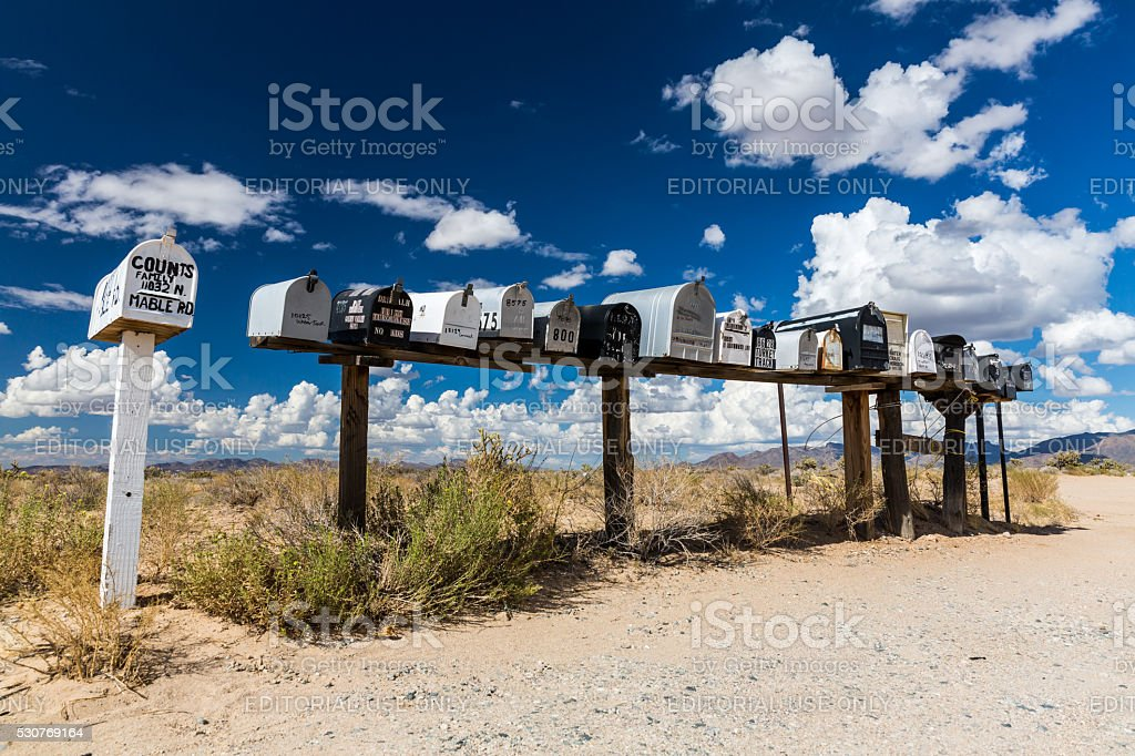 Views of mail boxes along the street stock photo
