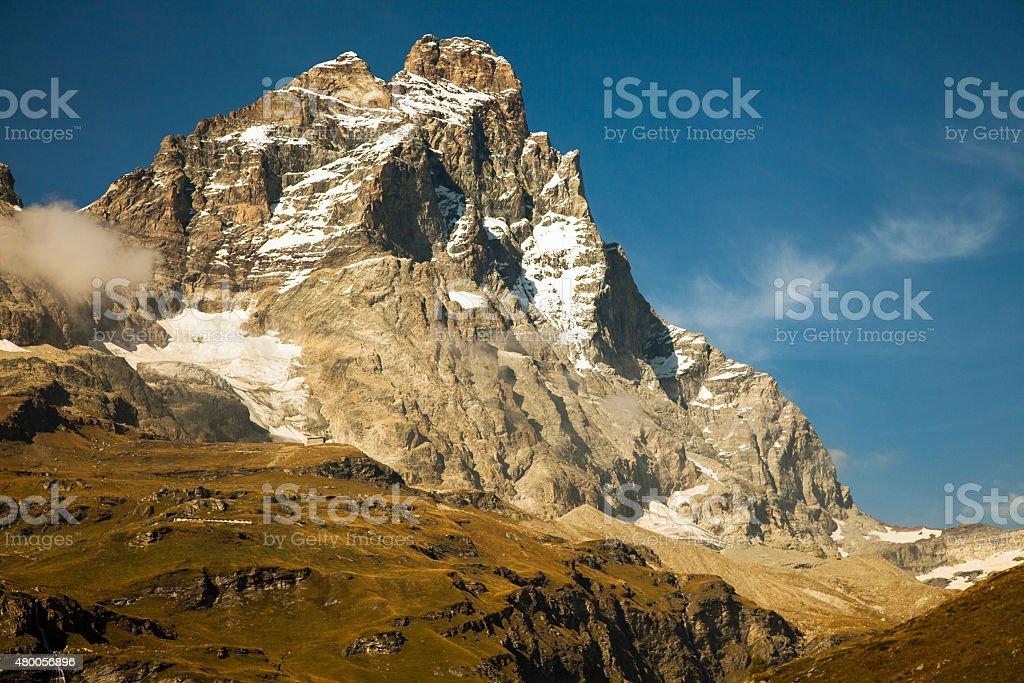 Views of Matterhorn from Breuil-Cervinia, Aosta Valley, Italy stock photo