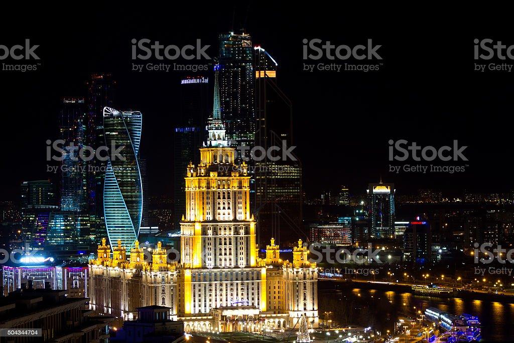 views of Novy Arbat and the Kremlin stock photo