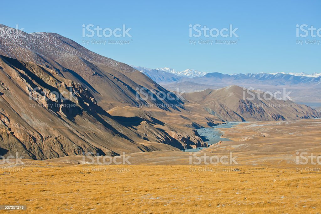 Views of river valley and mountain range in autumn stock photo