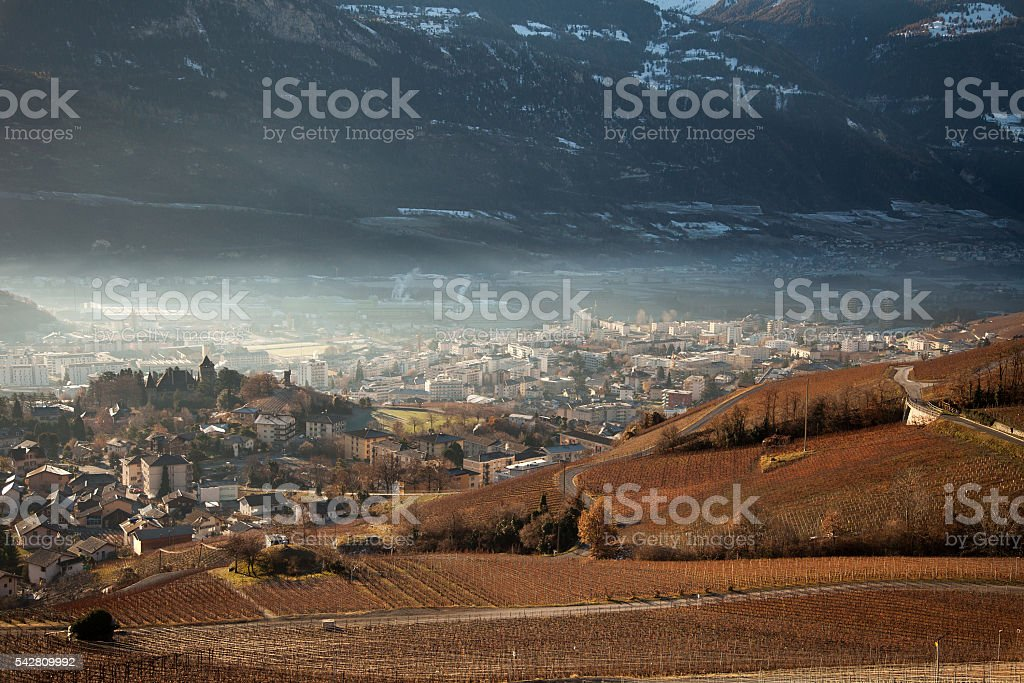 Views of Sierre and the Alps from Crans-Montana, Switzerland stock photo