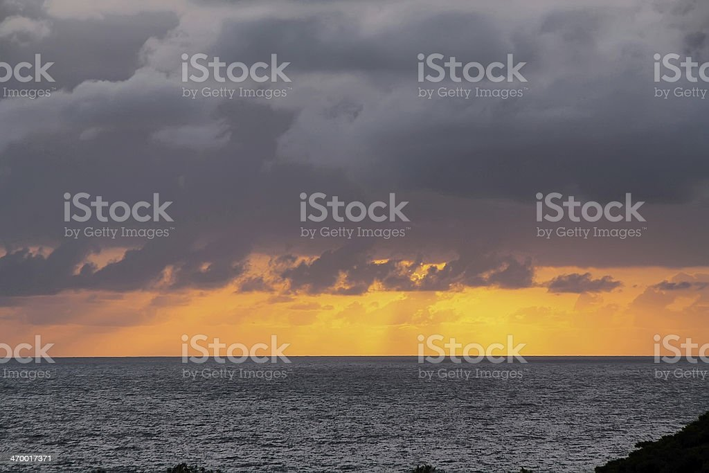 Views of Sunrise over the sea from Hana Highway royalty-free stock photo