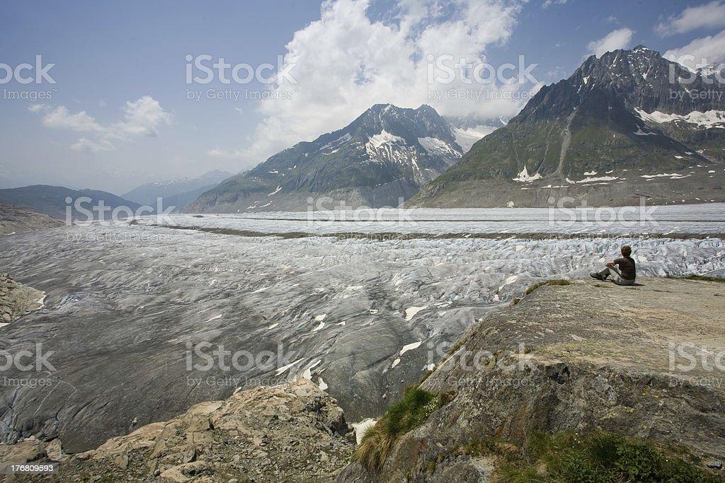 Views of the Aletsch Glacier. stock photo