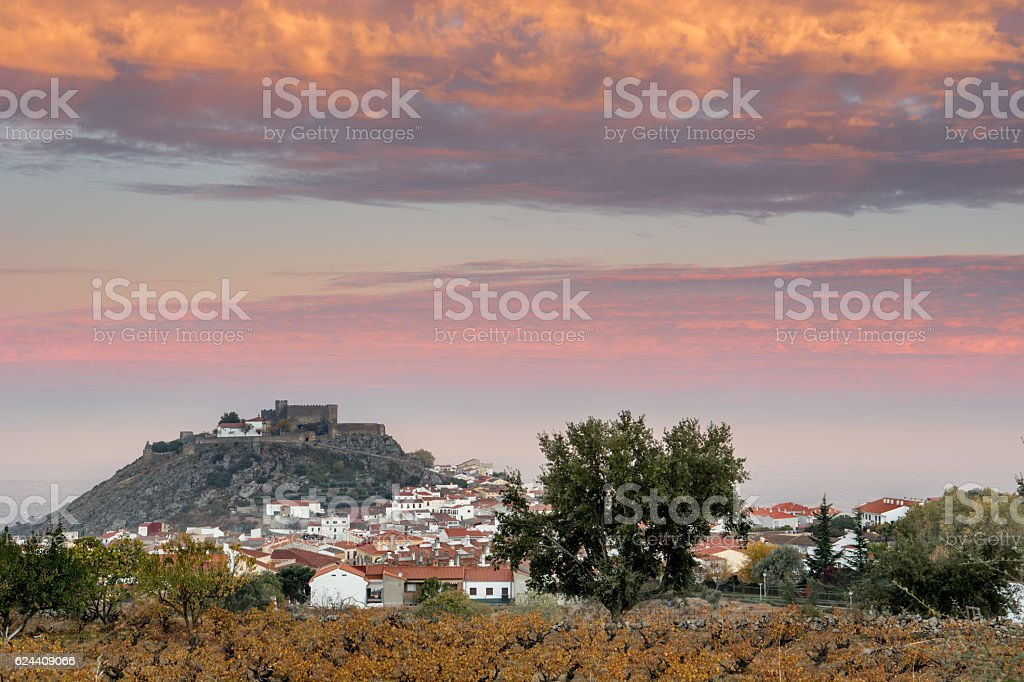 Views of the castle of Montanchez with Sky lit stock photo