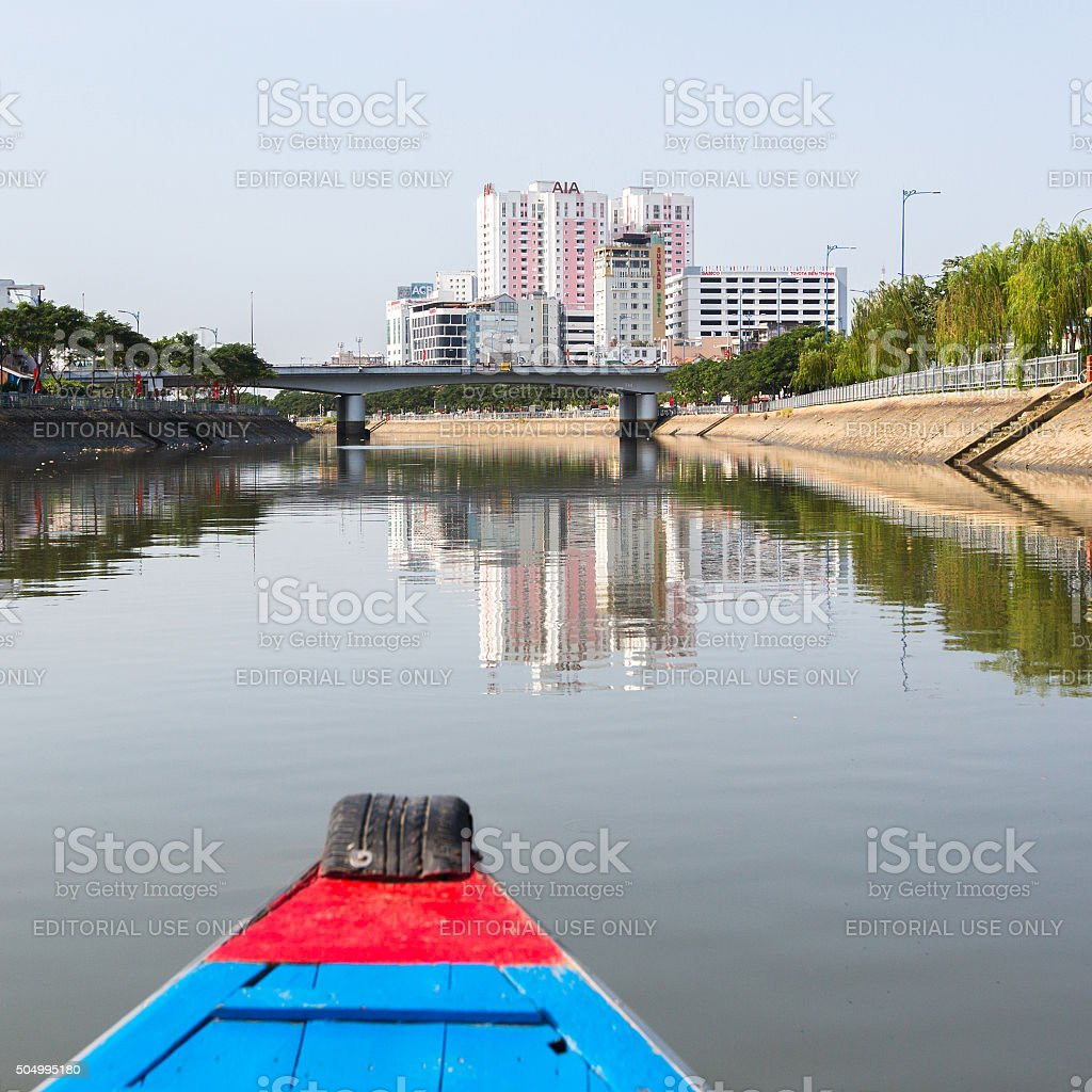 Views of the city from the Boat. stock photo