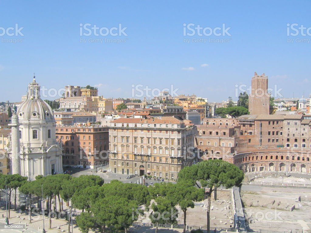 Views of the city from the Il Vittoriano. The city's tourist attractions. Cityscape of Rome stock photo