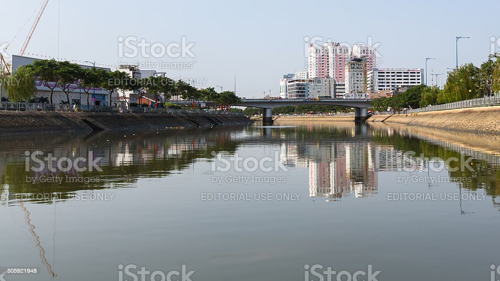 Views of the city from the river. stock photo