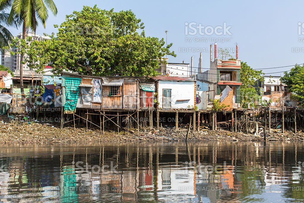 Views of the city's Slums from the river stock photo