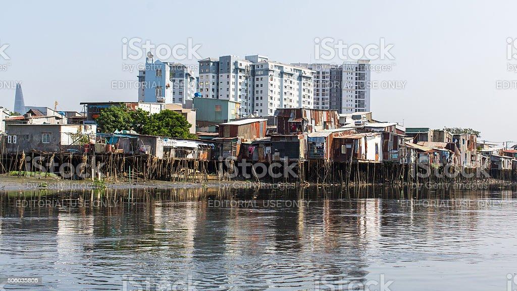 Views of the city's Slums from the Saigon river. Vietnam. stock photo