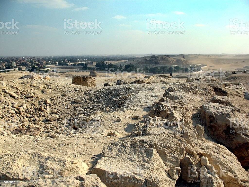 views of the desert and city, Giza, Cairo stock photo