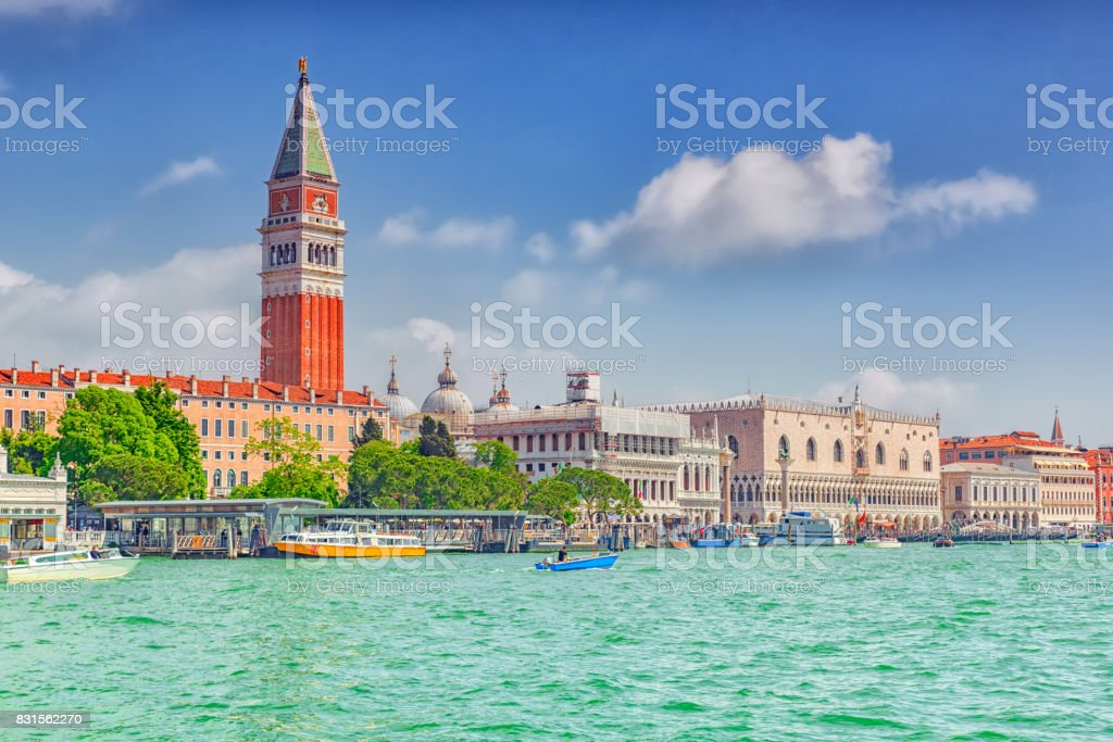 Views of the most beautiful canal of Venice - Grand Canal, and Campanile of St. Mark's Cathedral(Campanile di San Marco),Doge's Palace (Palazzo Ducale). stock photo