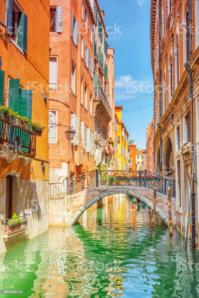 Views of the most beautiful channel of Venice, narrow streets, houses. stock photo