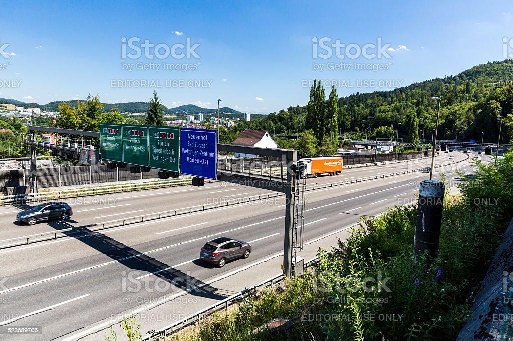 Views of the motorway A1 near the Baregg, Switzerland stock photo