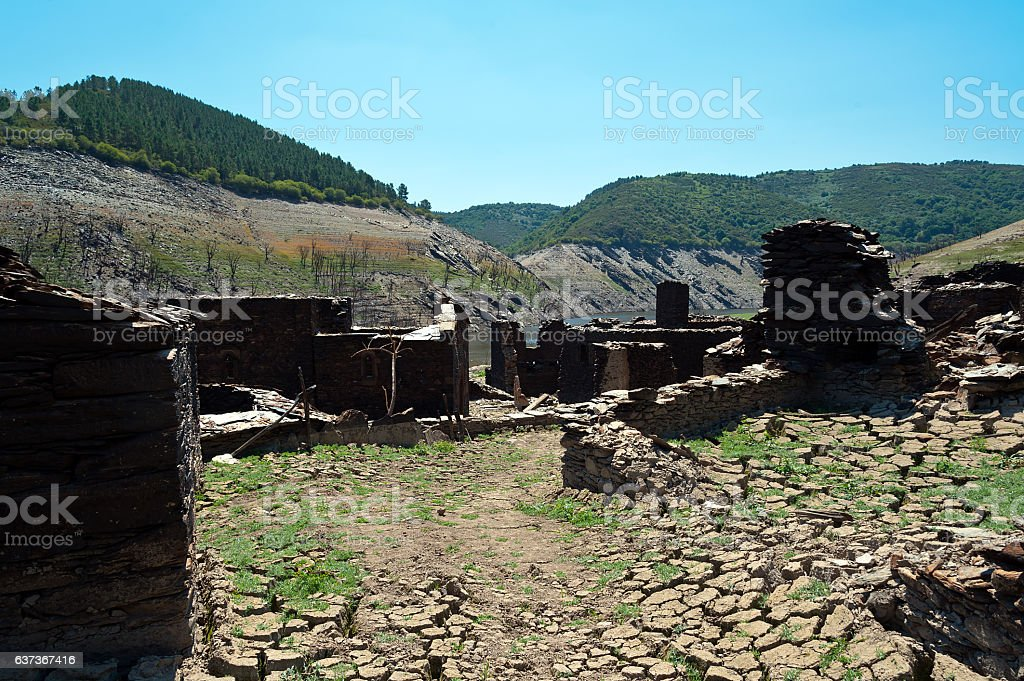 Views of the old  village of Chave, strains and terraces stock photo