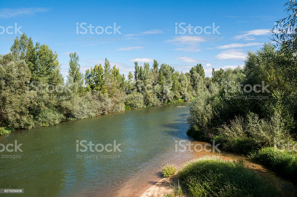 Views of the River Esla stock photo