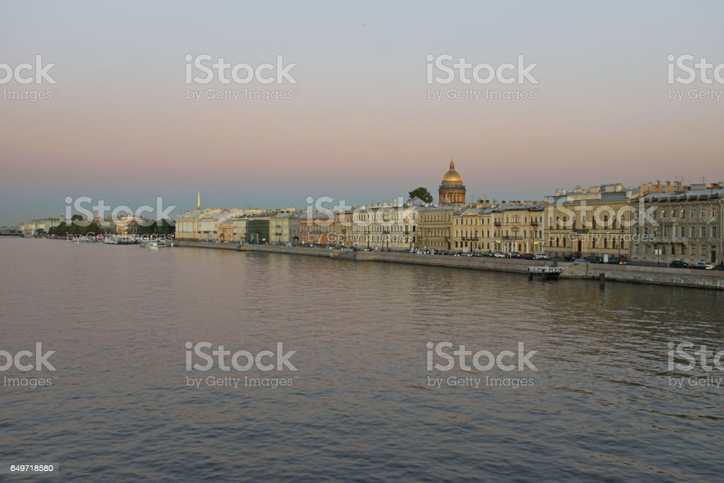 Views of the river Neva, English embankment, St. Isaac's Cathedr stock photo