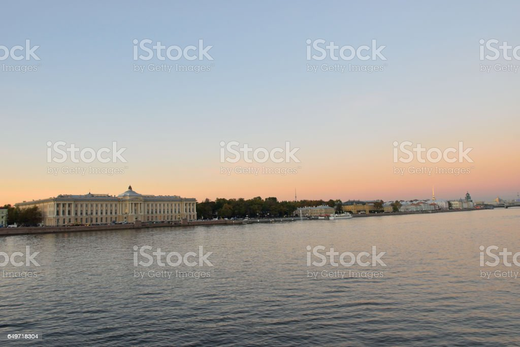 Views of the river Neva, Universitetskaya embankment with Blagov stock photo