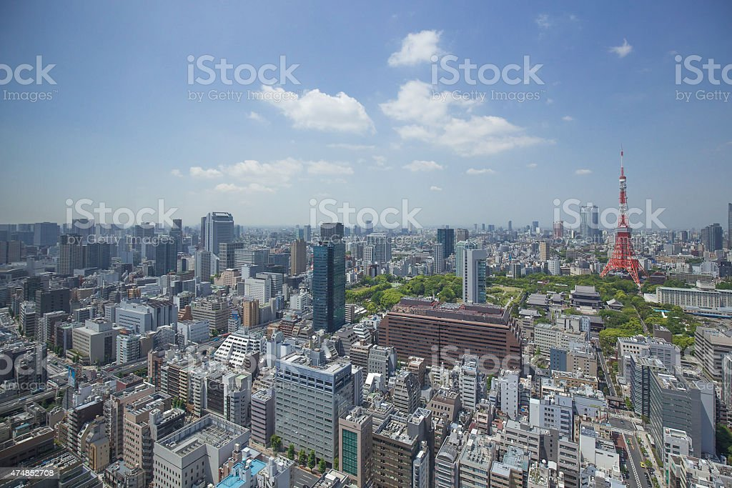 Views of the Tokyo Tower district stock photo