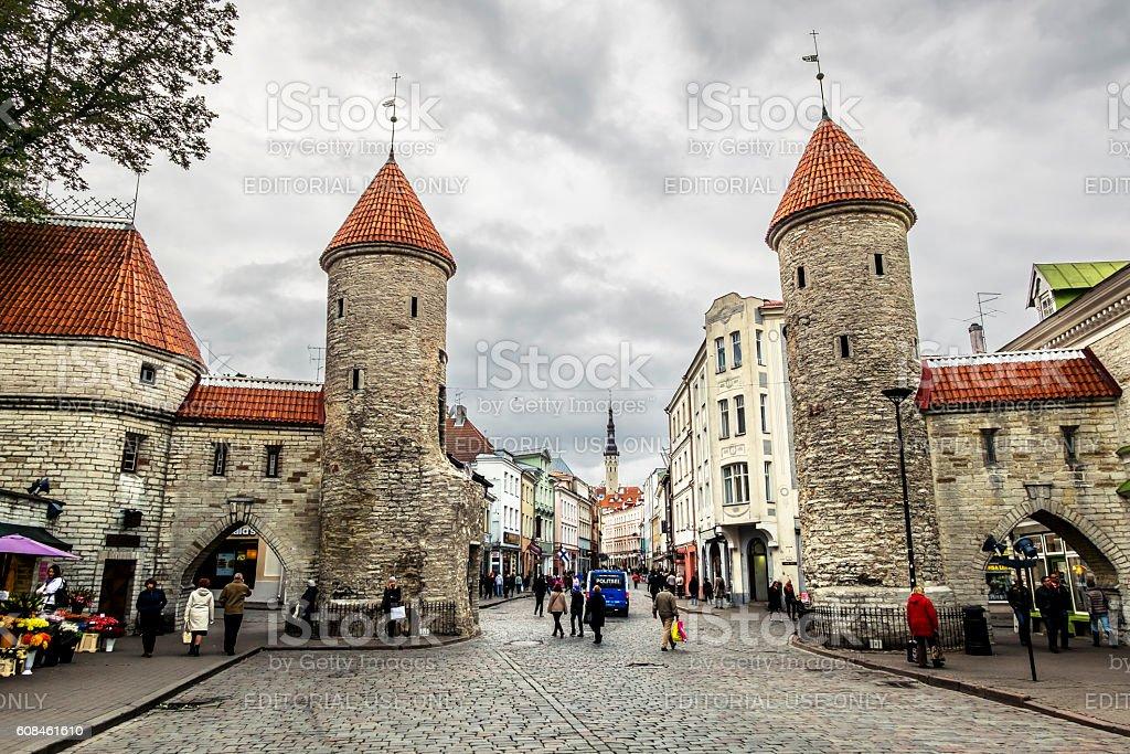 Views of the Viru gate in Tallinn .Estonia. stock photo