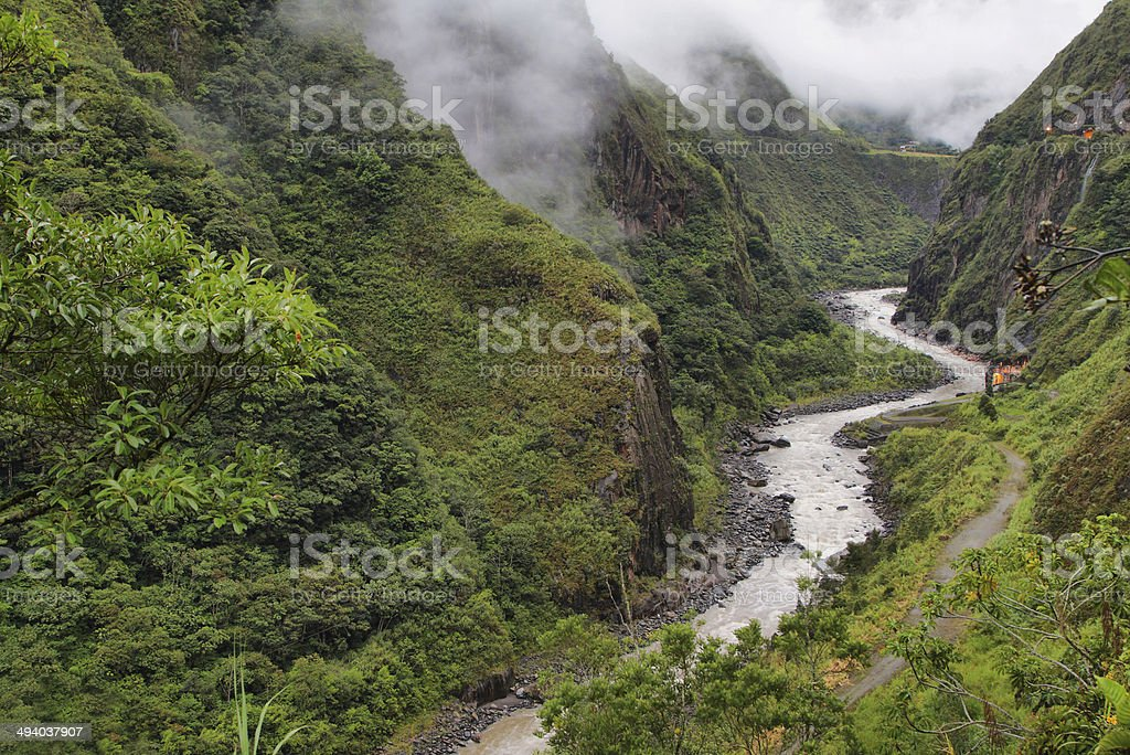 Views of winding Pastaza river and sheer mountains stock photo