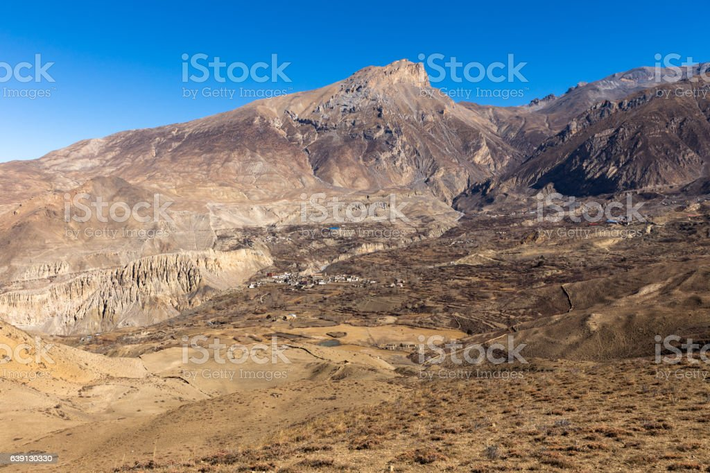 views on the Muktinath village in lower Mustang, Nepal stock photo