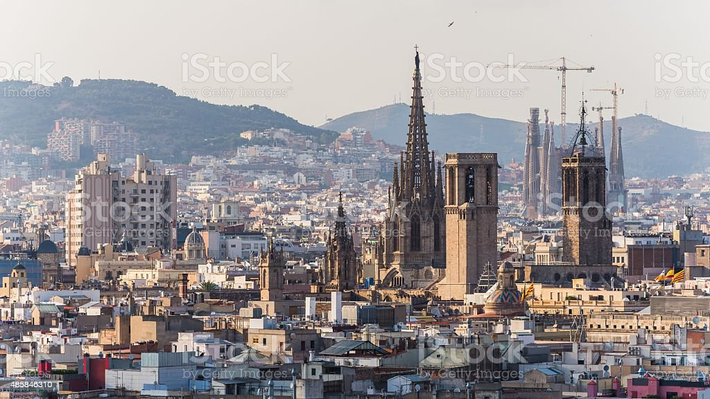 views over the houses of barcelona spain stock photo