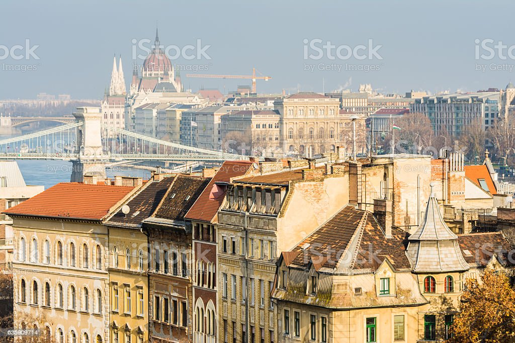 views to budapest chain bridge, hungary stock photo