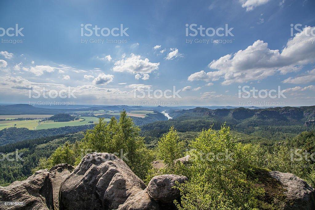 views to the Saxon Switzerland stock photo