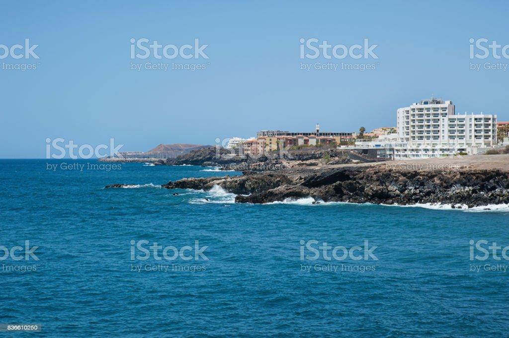 Views towards San Blas, Golf del Sur and Amarilla Golf from Los Abrigos, Tenerife, Spain stock photo