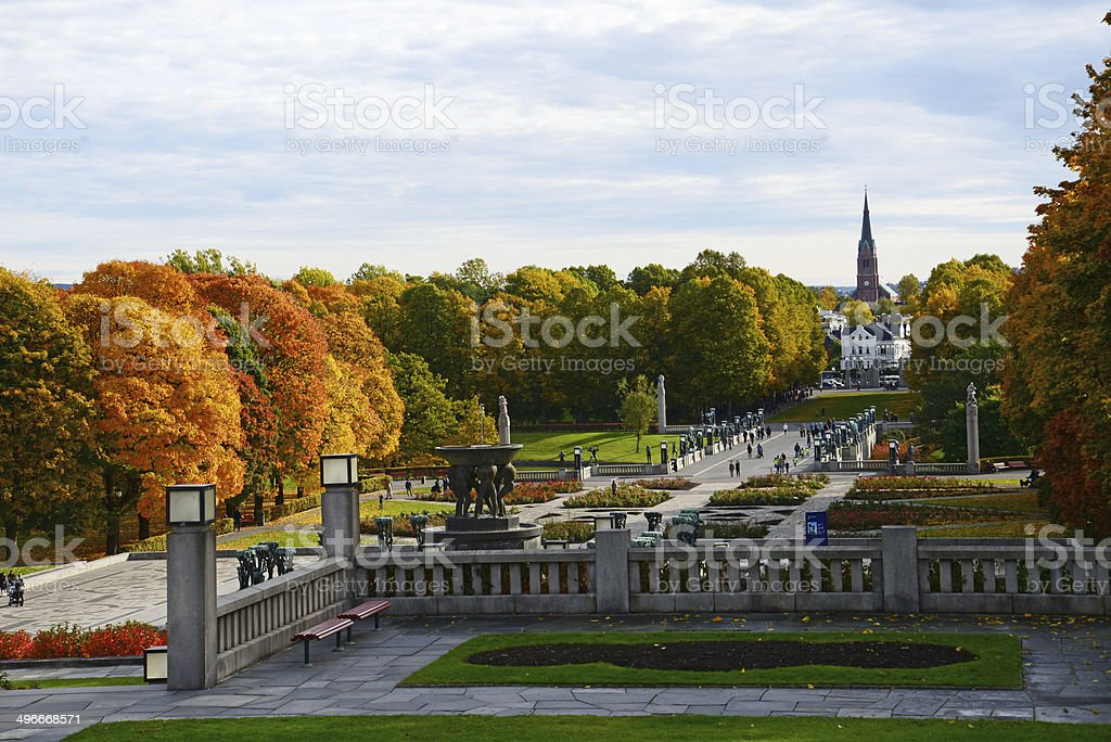 Vigeland Park in Autumn stock photo