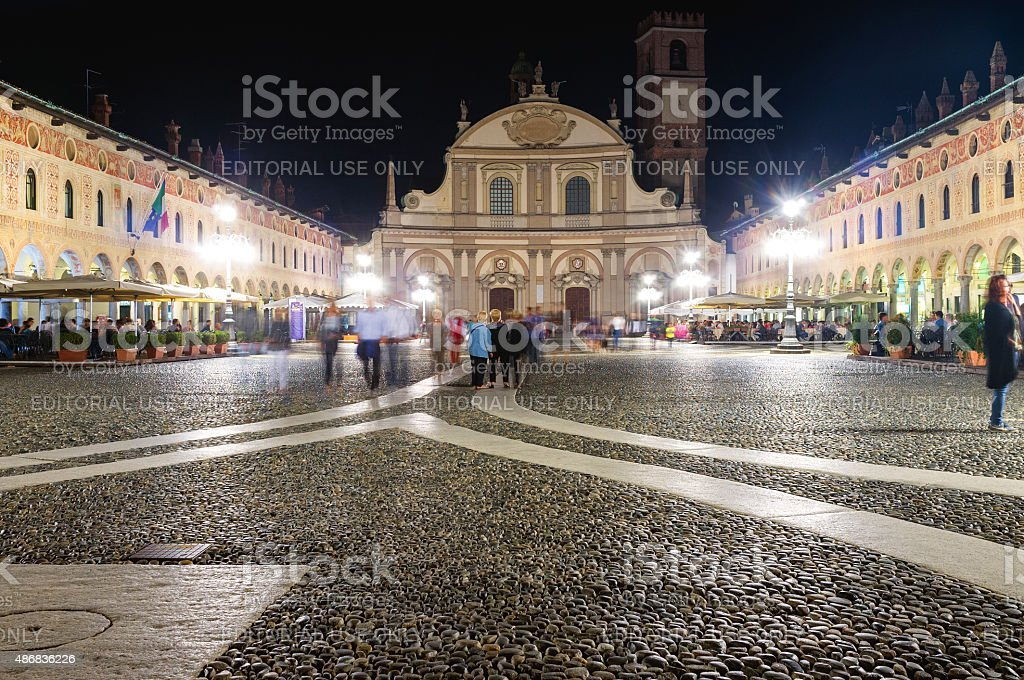 Vigevano by-night. Color image stock photo