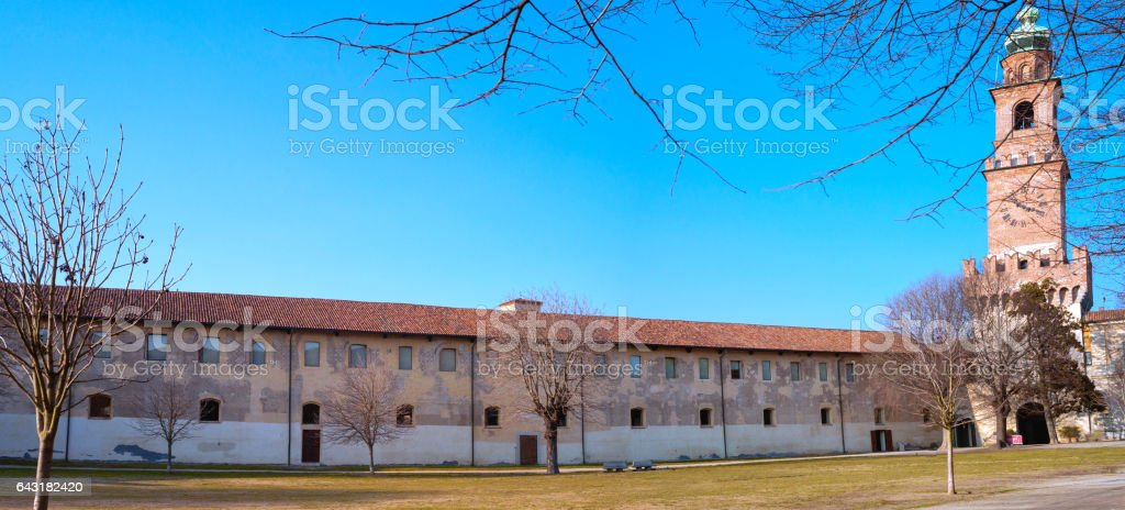 Vigevano, the city garden. Color image stock photo