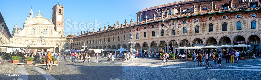 """Vigevano (Italy), the """"Ducale"""" square, wide-angle view. Color image stock photo"""