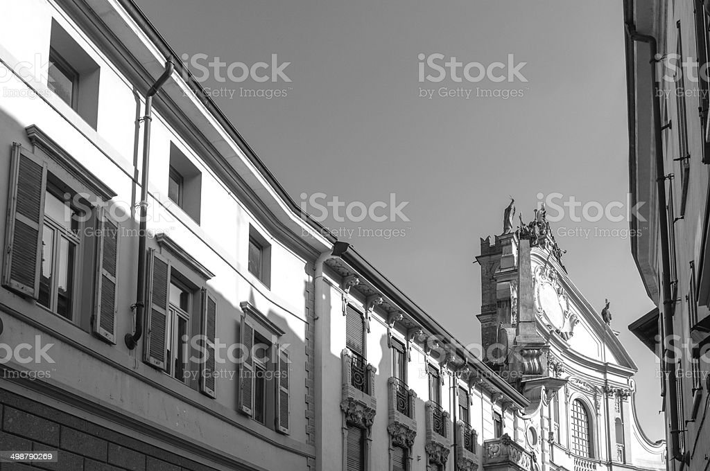 Vigevano-Old palaces with Basilica's facades BW image stock photo