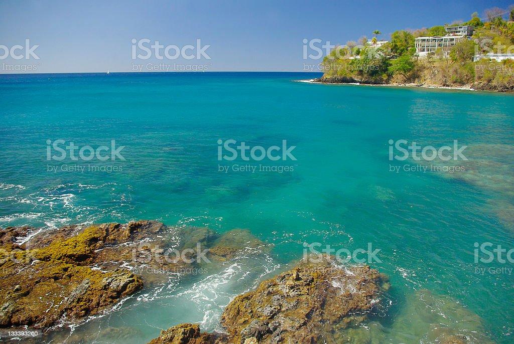 Vigie St Lucia ; rugged rocky coastal tropical scenic with peninsular stock photo