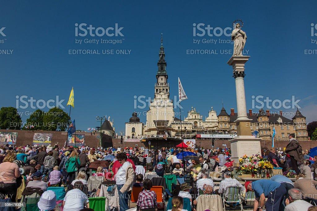 Vigil Catholic Charismatic Renewal meeting Czestochowa Poland stock photo