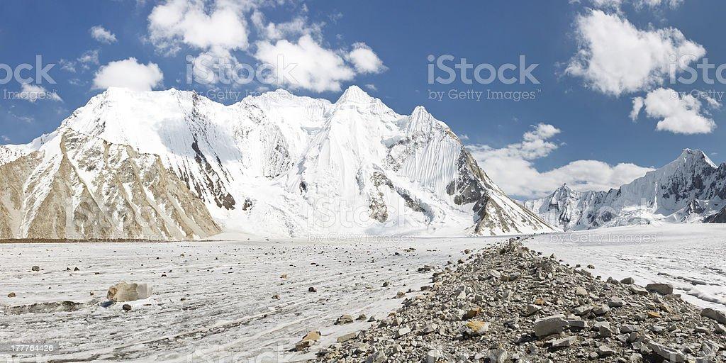 Vigne Glacier Panorama, Karakorum, Pakistan stock photo