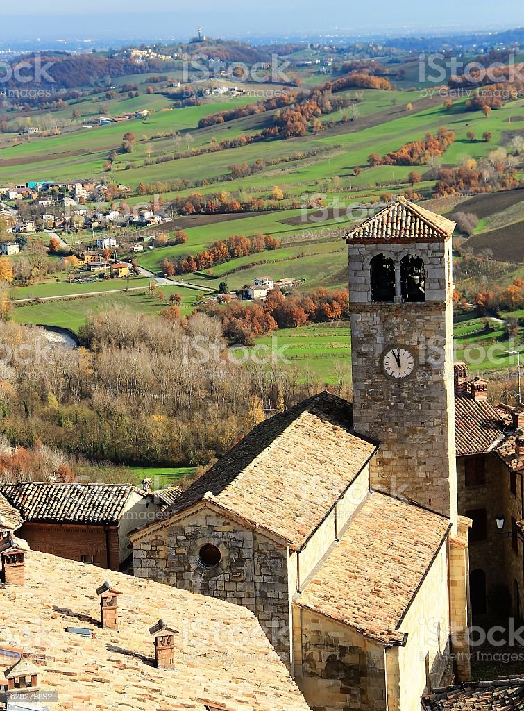 Vigoleno village in Northern Italy stock photo