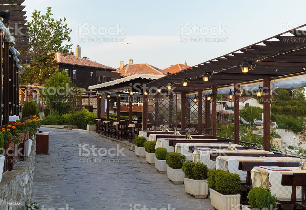 Viiew of a restaurant on the sea coast, Nesebar, Bulgaria stock photo