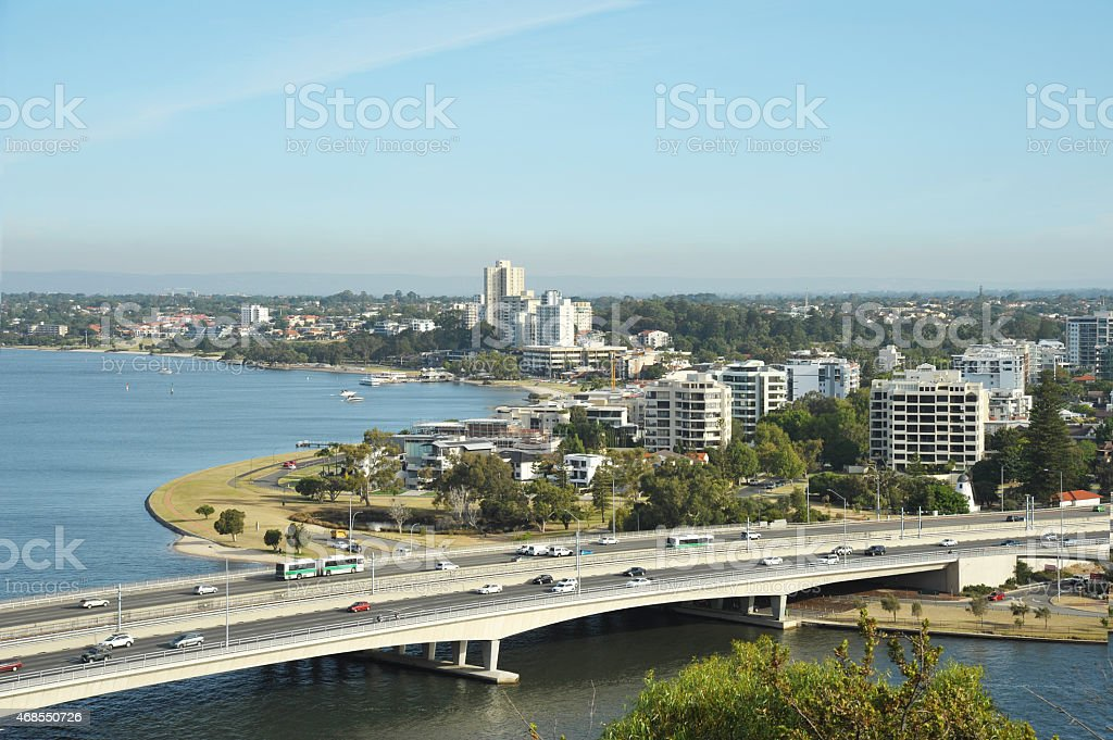 Viiew of perth-capital of western australia. stock photo