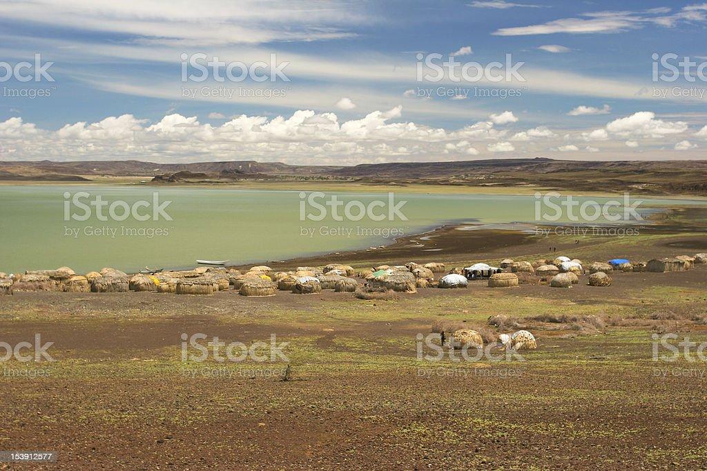 Viiew of Turkana Village, Kenya stock photo