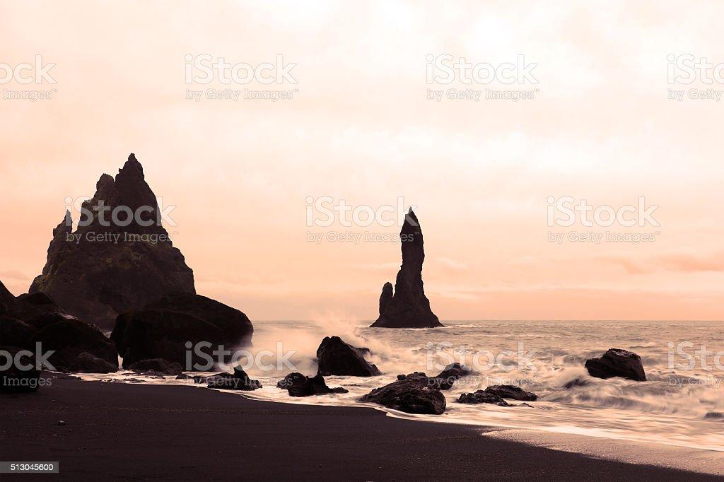 Vik Black Sand Beach and Coastline in Iceland stock photo