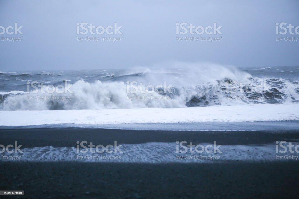 Vik, Iceland- Beautiful Black Sand Beaches and Atlantic Ocean Waves stock photo