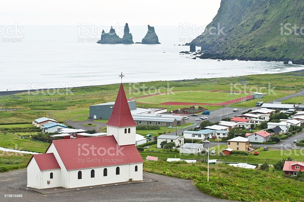Vik, small town in Iceland stock photo