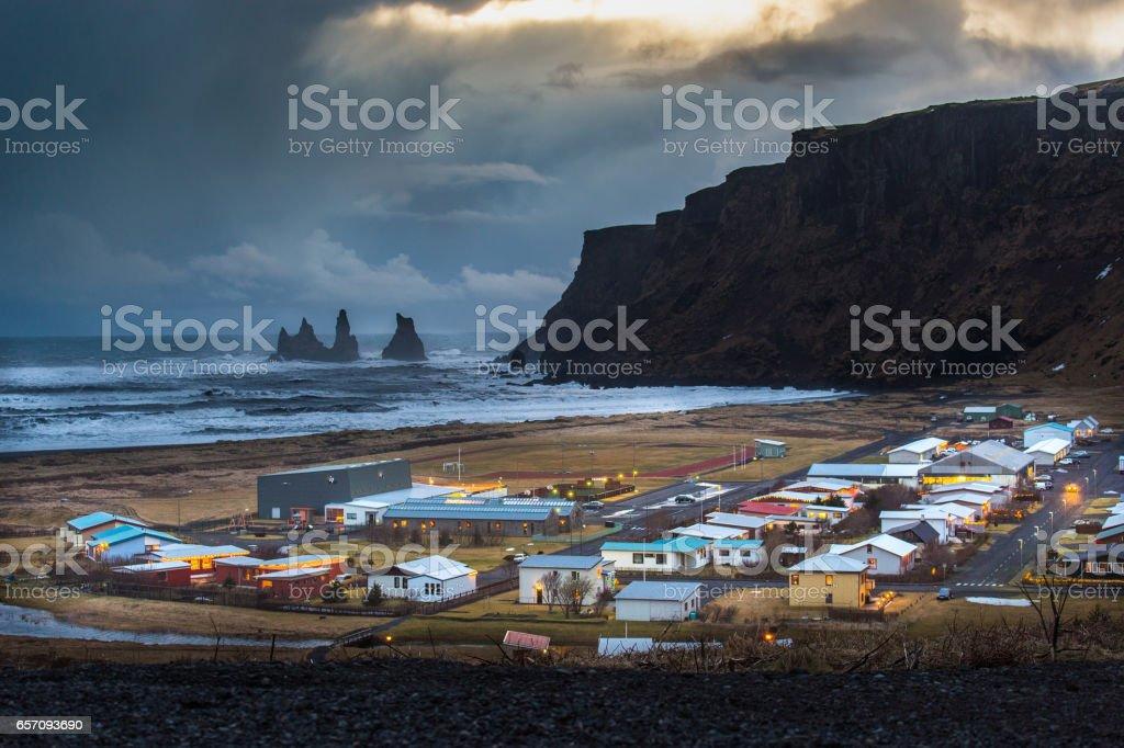Vik town Iceland stock photo