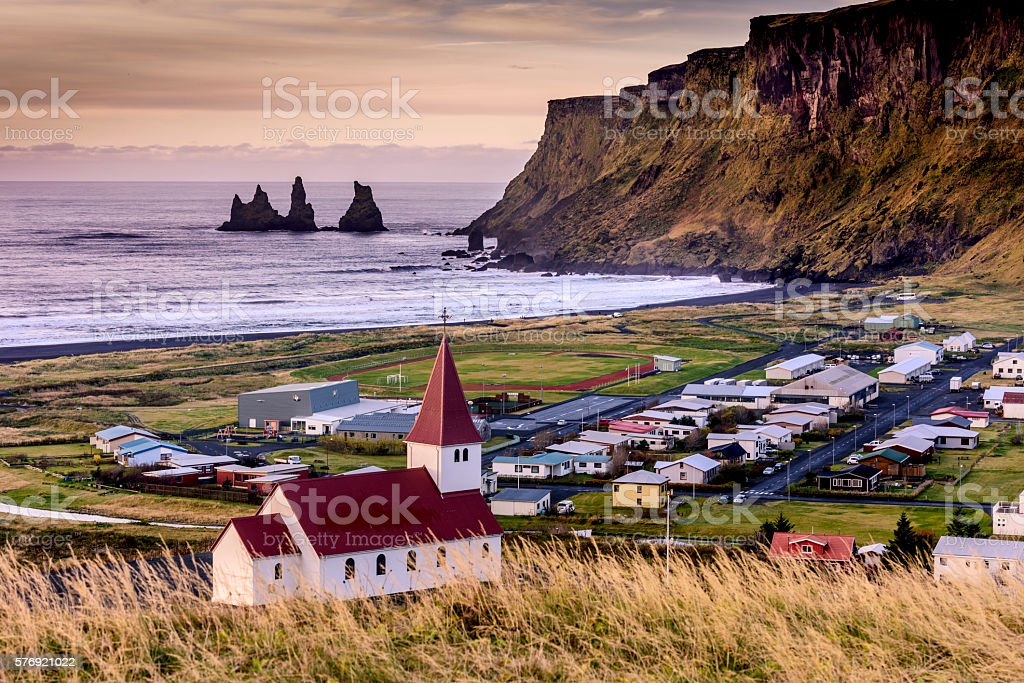 Vik -Town in Southern Iceland stock photo