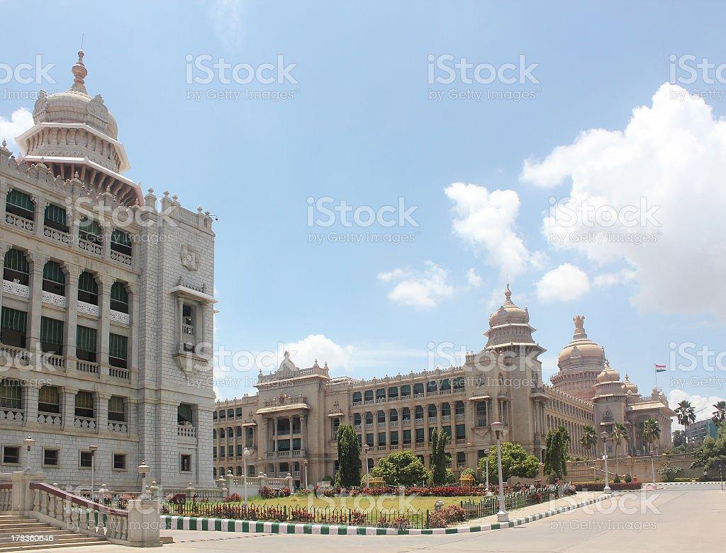 Vikasa & Vidhana Soudha - Landmark  and iconic structures of bangalore stock photo